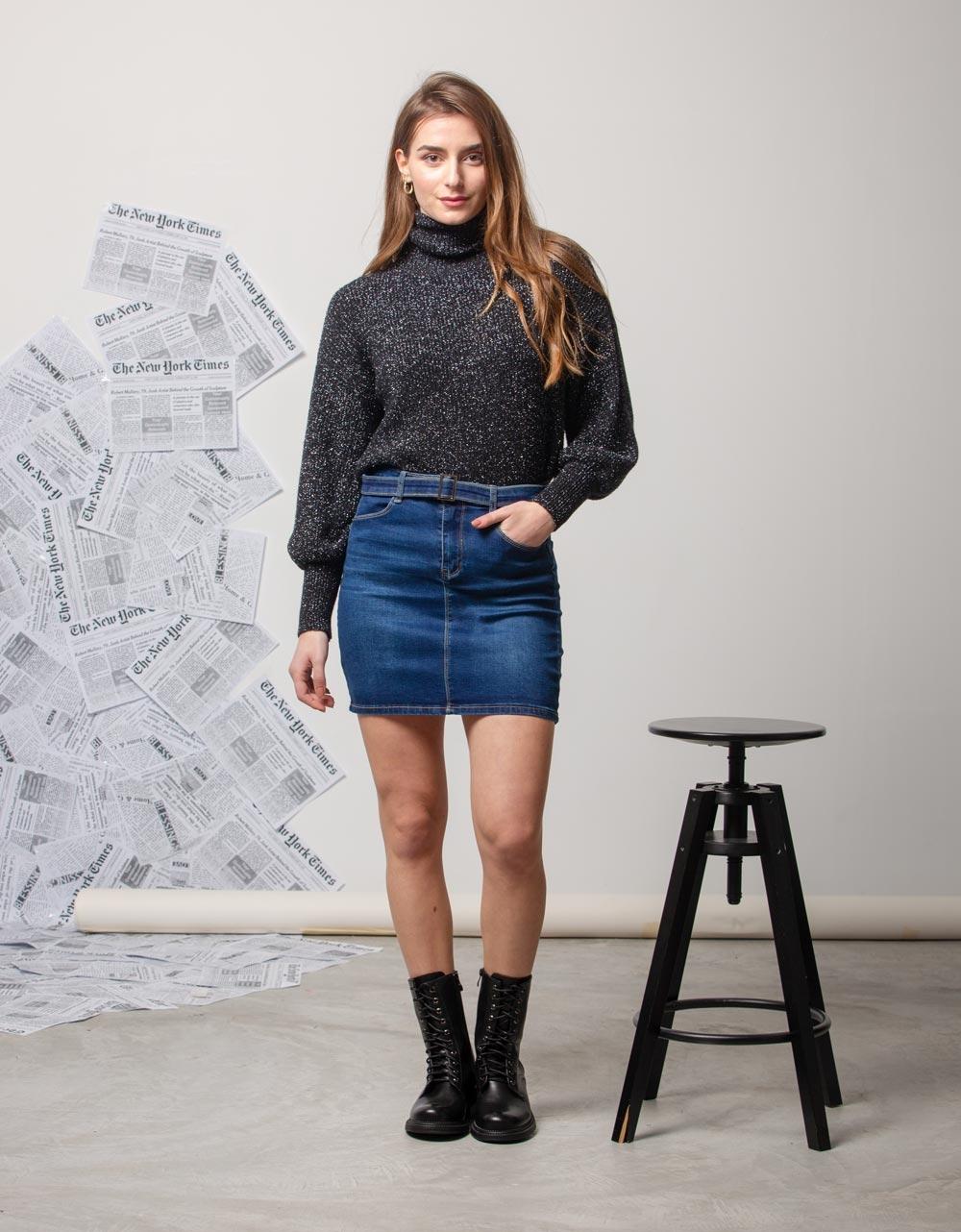 Εικόνα από Γυναικεία φούστα ψηλόμεση Τζιν