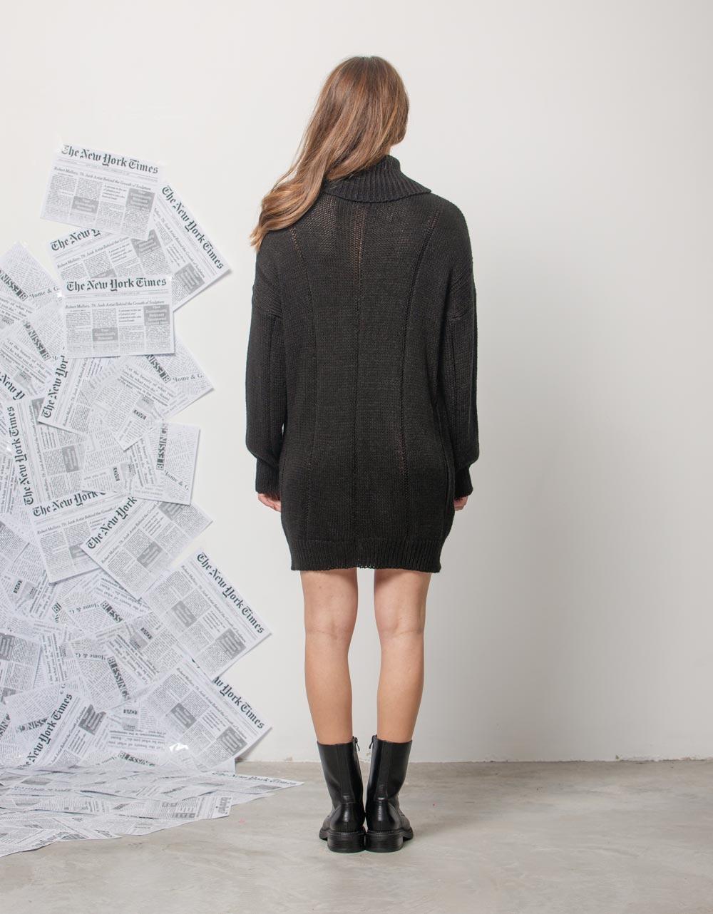 Εικόνα από Γυναικείο φόρεμα πλεκτό ζιβάγκο Μαύρο