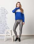 Εικόνα από Γυναικεία μπλούζα πλεκτή με τρίχρωμα σχέδια Μπλε