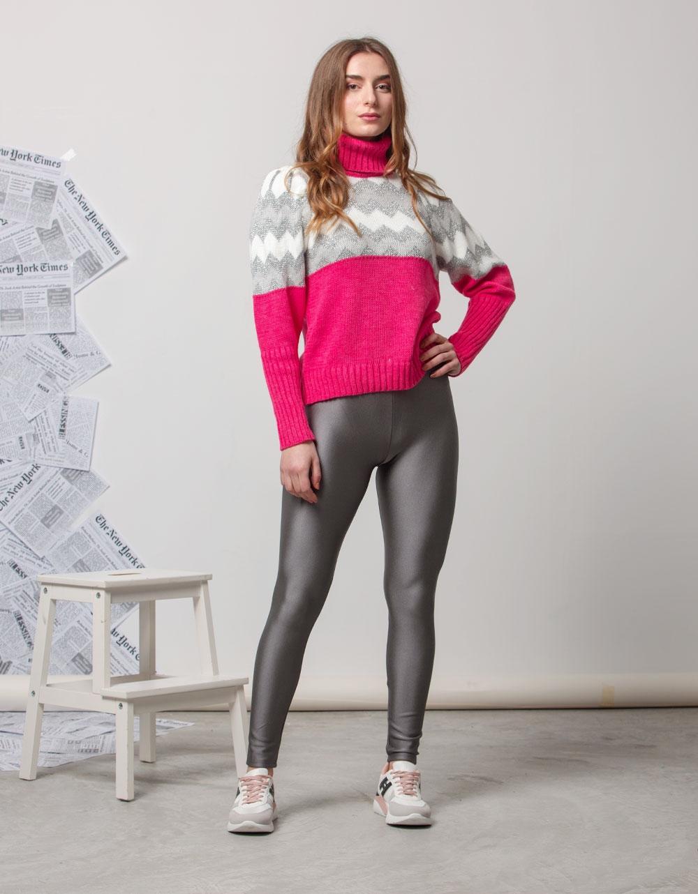 Εικόνα από Γυναικεία μπλούζα πλεκτή με τρίχρωμα σχέδια Ροζ