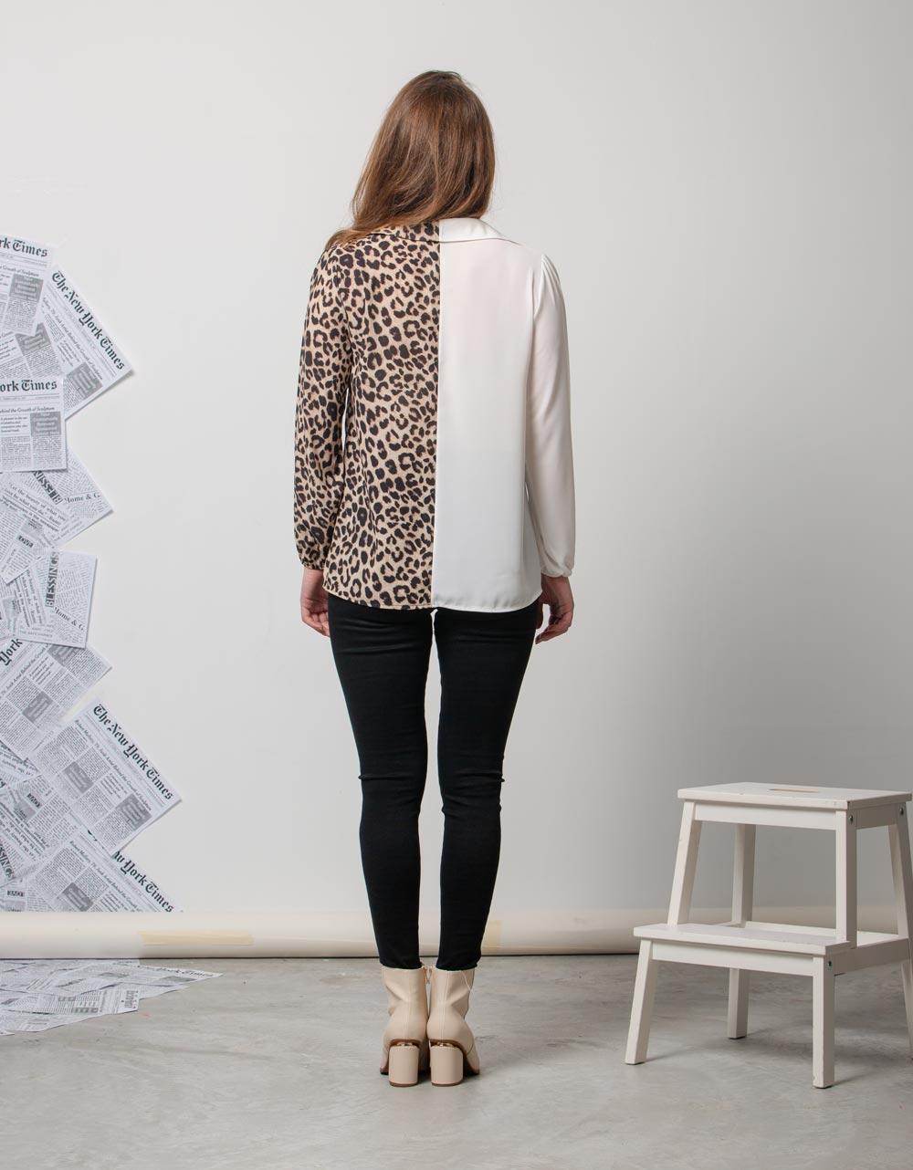 Εικόνα από Γυναικείο πουκάμισο με δίχρωμη λεπτομέρεια Λευκό