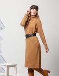 Εικόνα από Γυναικείο φόρεμα πλεκτό ζιβάγκο Κάμελ