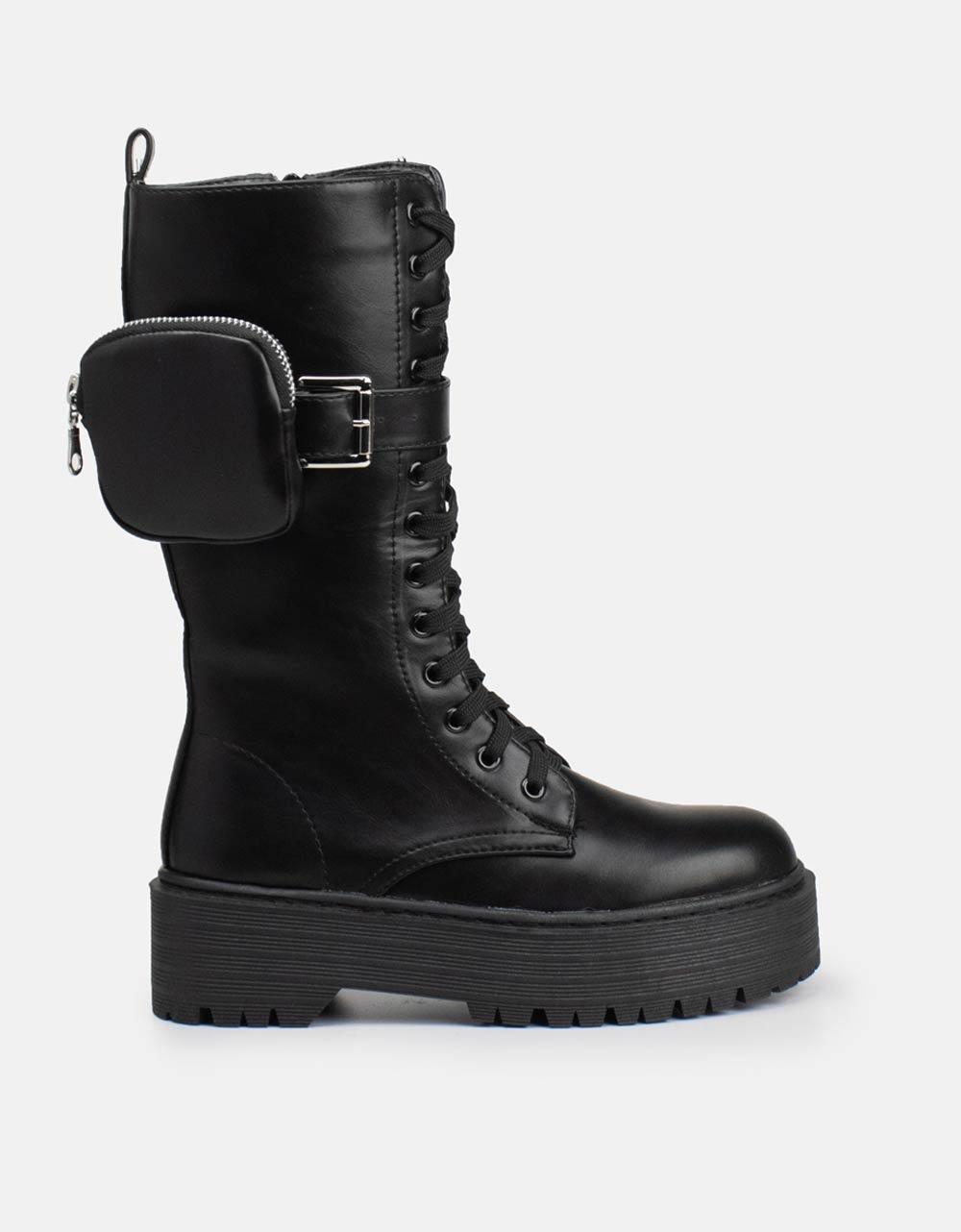 Εικόνα από Γυναικείες μπότες combat με χοντρή σόλα Μαύρο