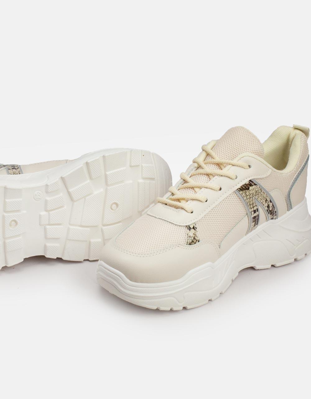 Εικόνα από Γυναικεία sneakers με κροκό λεπτομέρεια Μπεζ