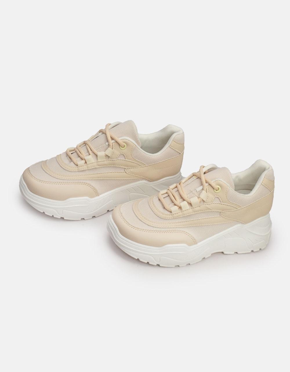 Εικόνα από Γυναικεία sneakers με δίχρωμο σχέδιο Μπεζ