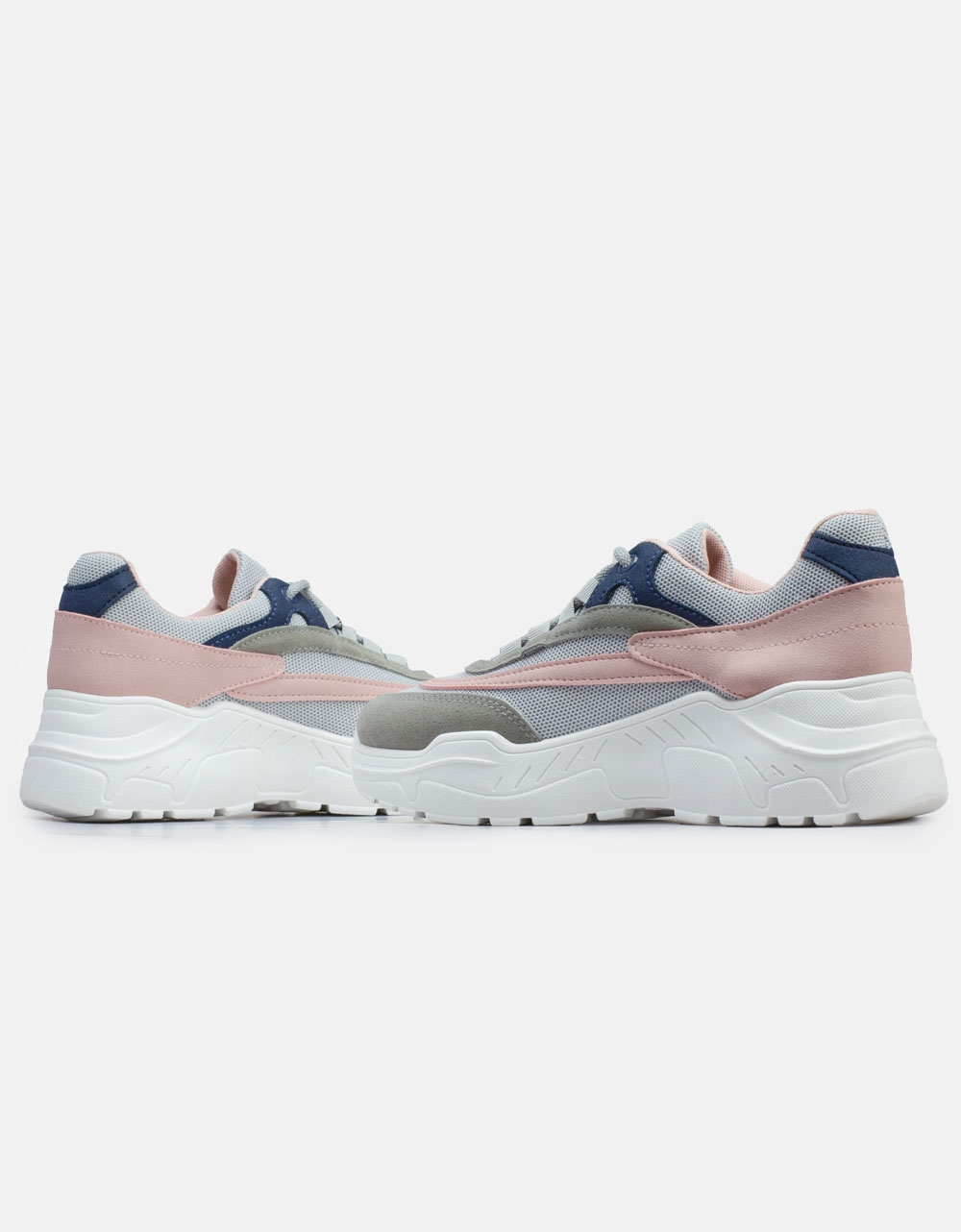 Εικόνα από Γυναικεία sneakers με δίχρωμο σχέδιο Γκρι/Ροζ