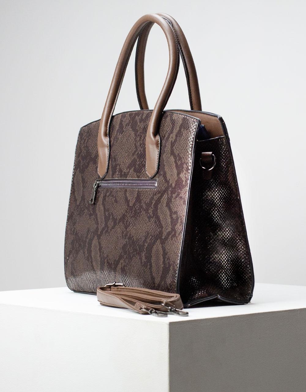 Εικόνα από Γυναικεία τσάντα ώμου & χιαστί με snake pattern Καφέ