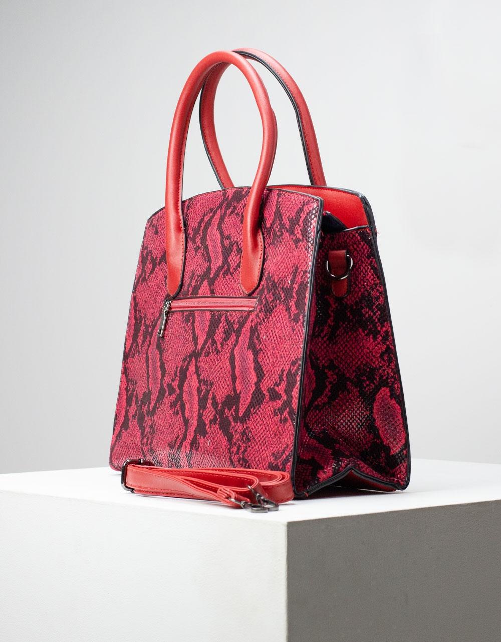 Εικόνα από Γυναικεία τσάντα ώμου & χιαστί με snake pattern Μπορντώ