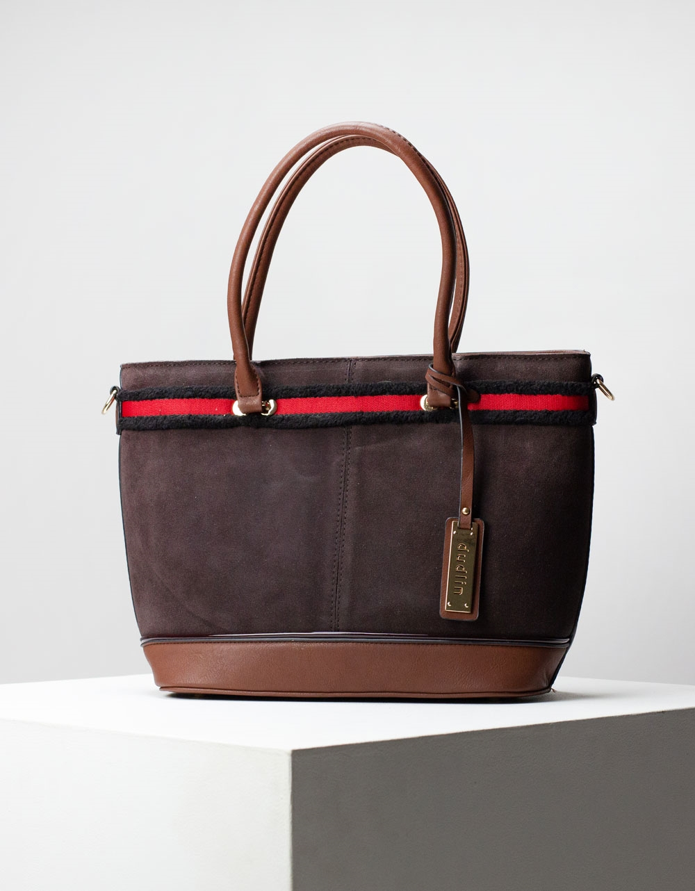 Εικόνα από Γυναικεία τσάντα ώμου & χιαστί με velvet υλικό Καφέ