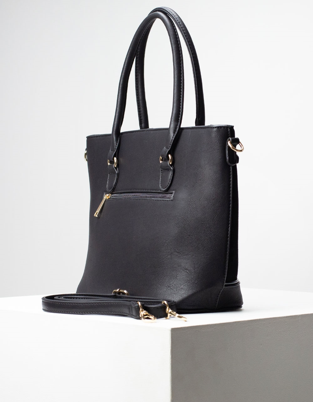Εικόνα από Γυναικεία τσάντα ώμου & χιαστί με velvet υλικό Μαύρο