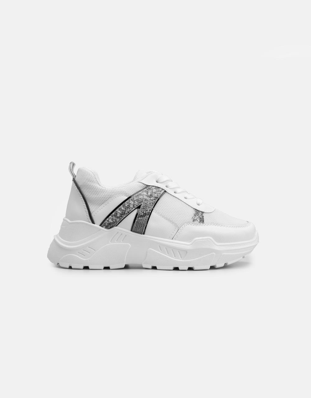 Εικόνα από Γυναικεία sneakers με κροκό λεπτομέρεια Λευκό