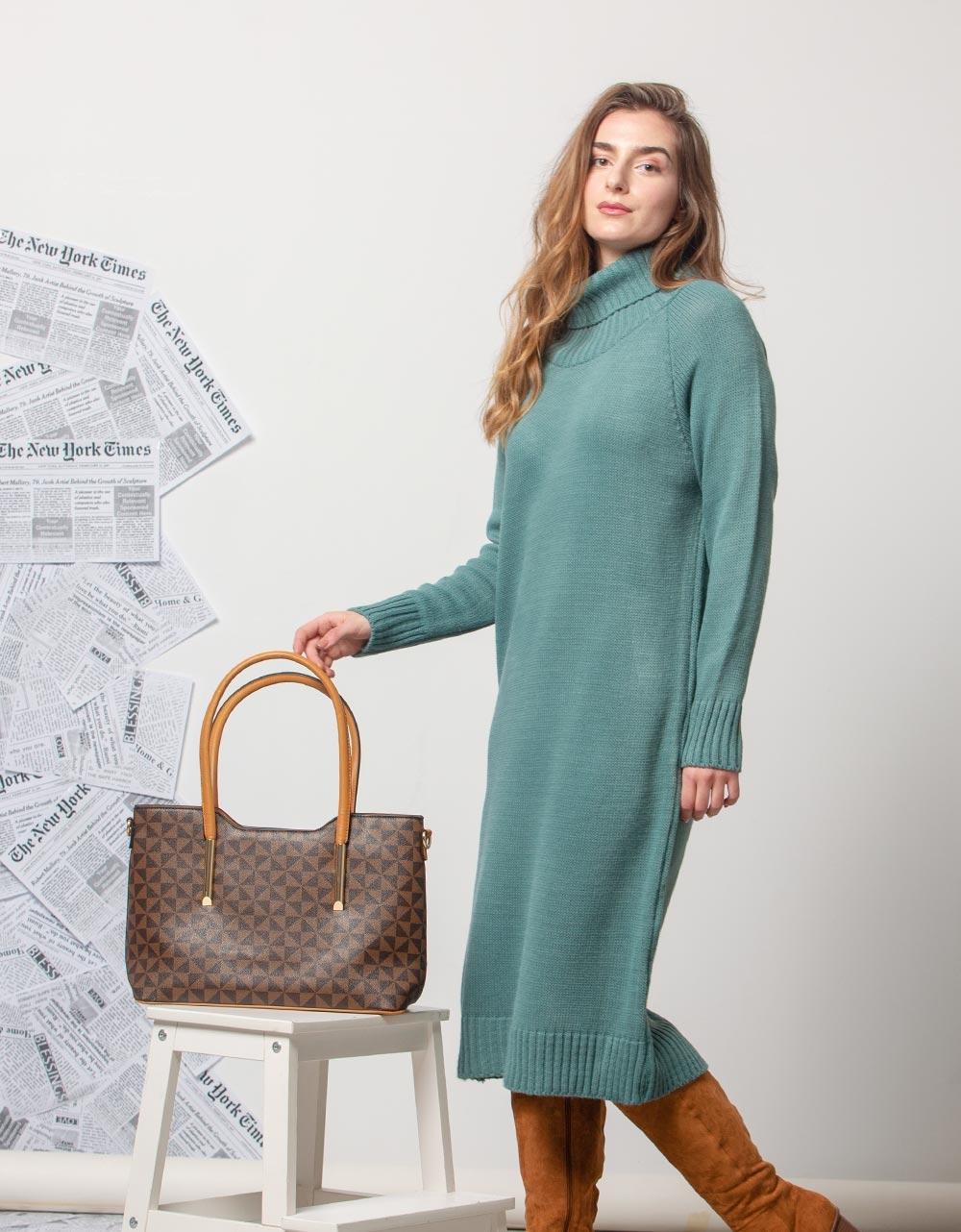 Εικόνα από Γυναικείο φόρεμα πλεκτό ζιβάγκο Βεραμάν