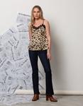 Εικόνα από Γυναικεία μπλούζα τοπ τιραντάκι σατεν με δαντέλα Λεοπάρ