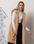 Εικόνα από Γυναικείο παλτό αμάνικο από οικολογική γούνα Κάμελ