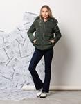 Εικόνα από Γυναικείο μπουφαν με αποσπώμενη κουκούλα γουνάκι Πράσινο