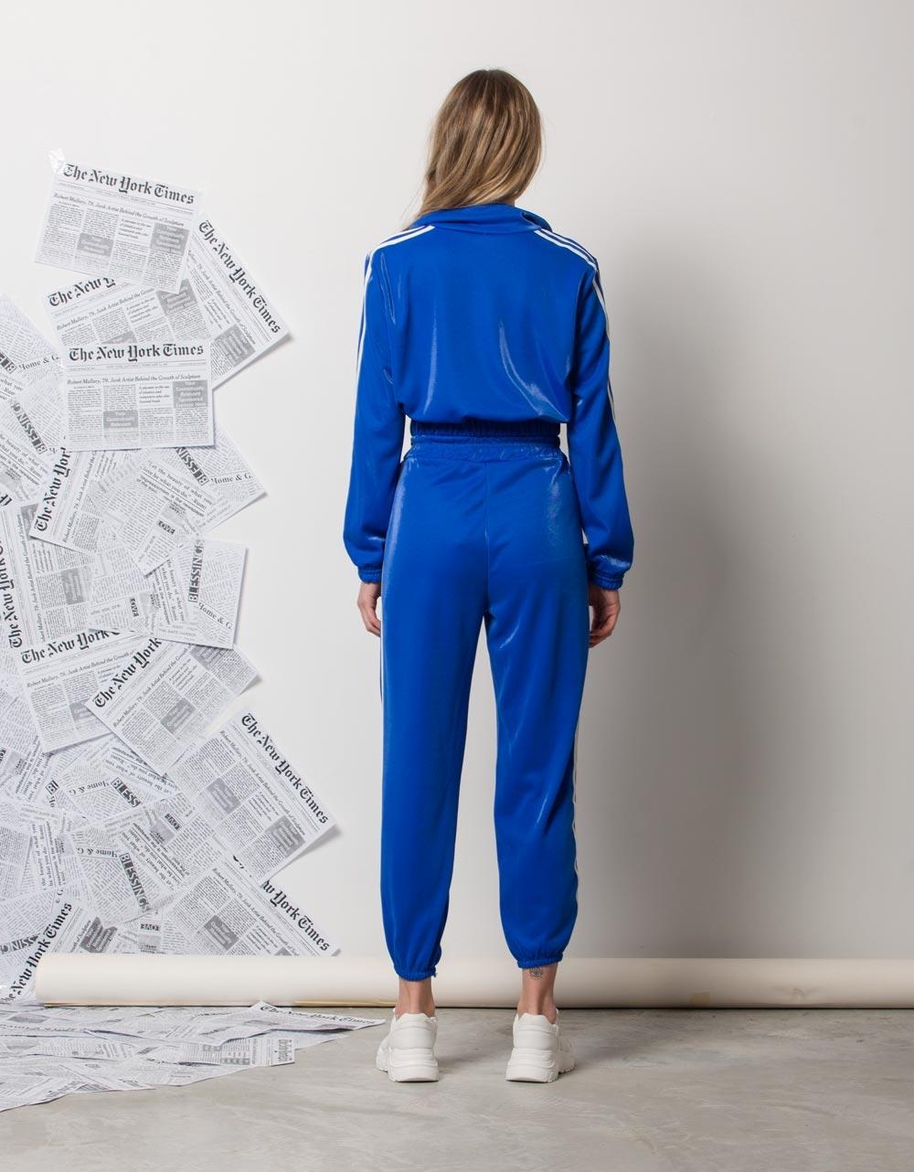 Εικόνα από Γυναικεία ζακέτα με ρίγες στο πλαϊνό μέρος Μπλε