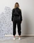 Εικόνα από Γυναικείο παντελόνι με ρίγες στο πλαϊνό μέρος και λάστιχο Μαύρο