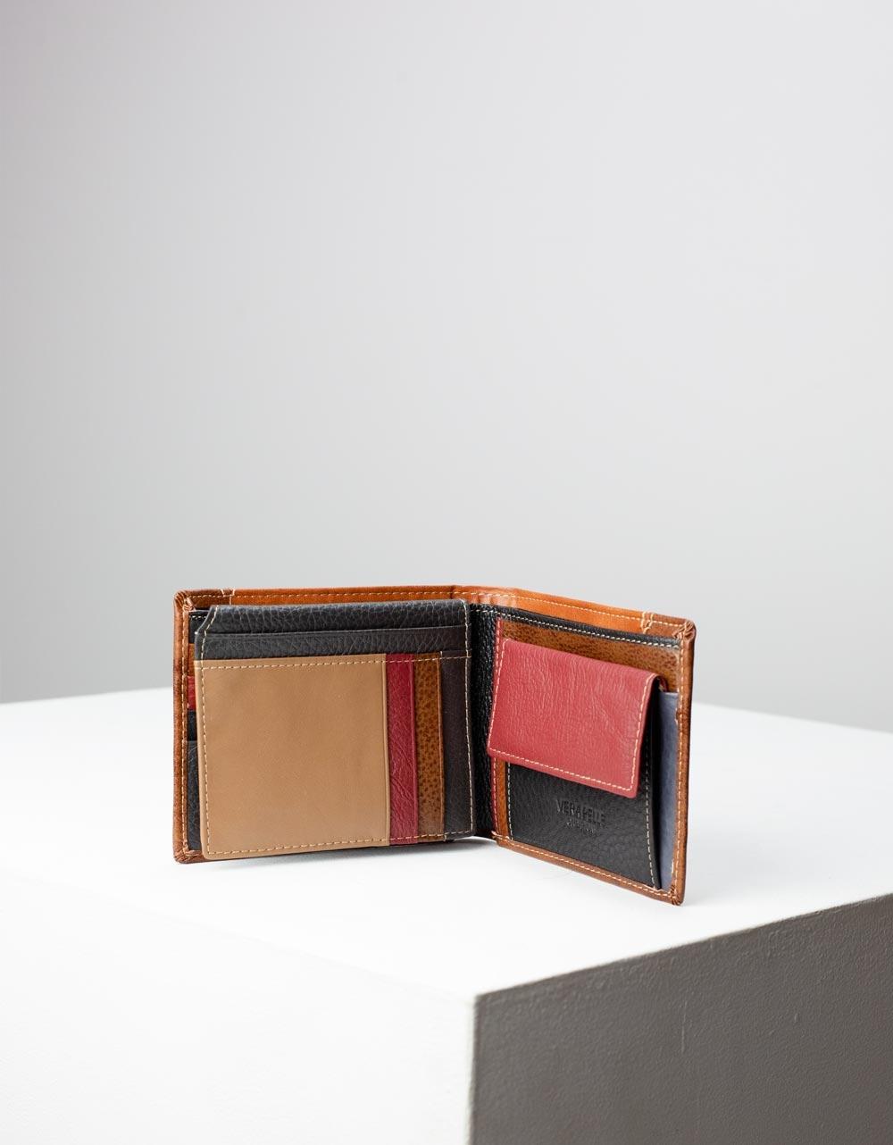 Εικόνα από Ανδρικά δερμάτινα πορτοφόλια σε συνδυασμό χρωμάτων Ταμπά