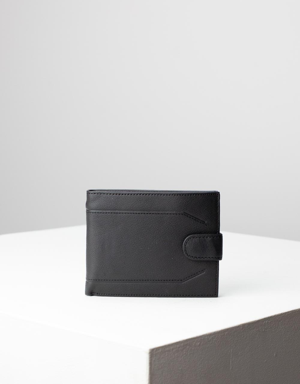 Εικόνα από Ανδρικά δερμάτινα πορτοφόλια με διακοσμητκές ραφές Μαύρο