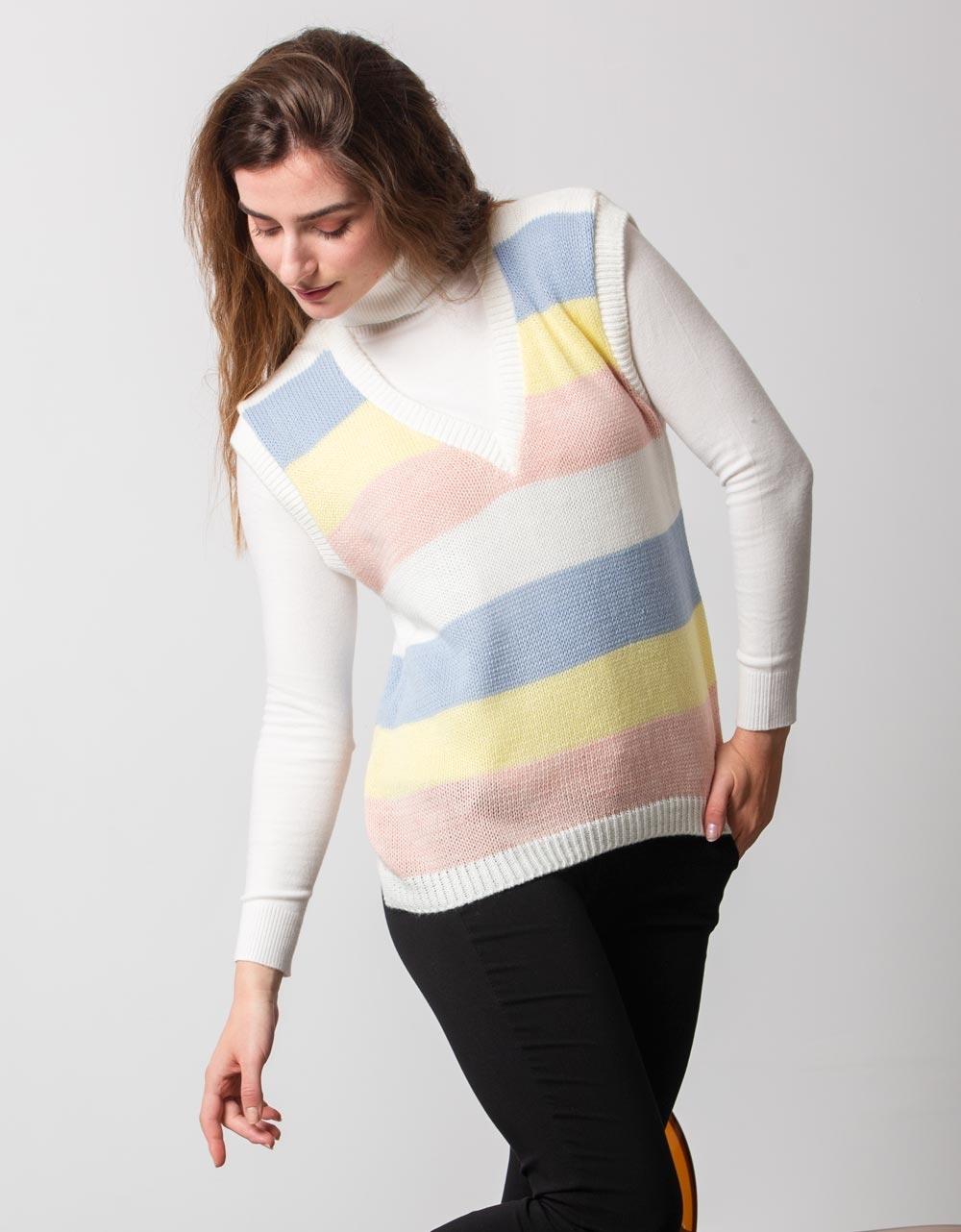 Εικόνα από Γυναικεία μπλούζα αμάνικο πλεκτό Λευκό