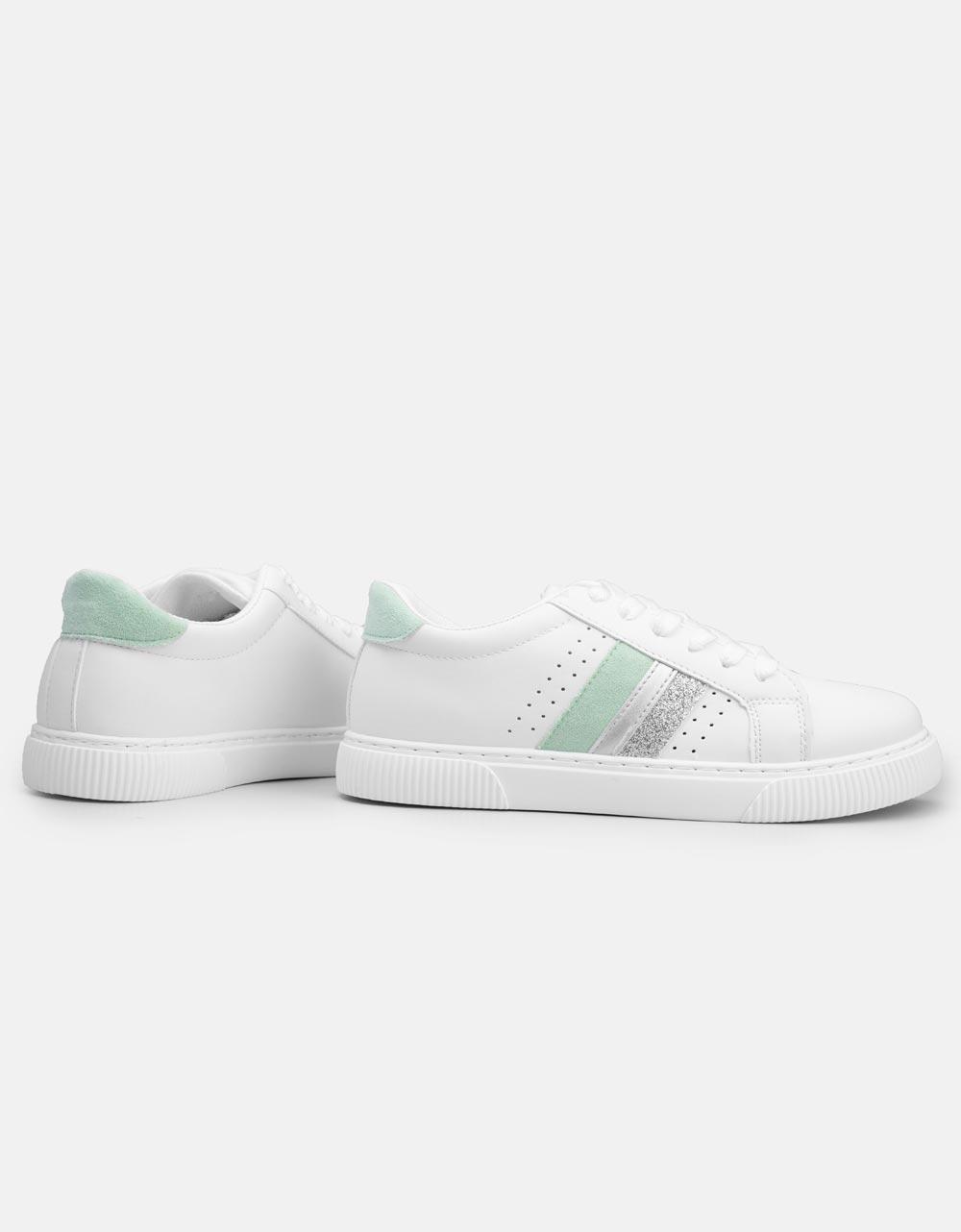 Εικόνα από Γυναικεία sneakers basic με ρίγες στο πλαινό μέρος Λευκό/Πράσινο