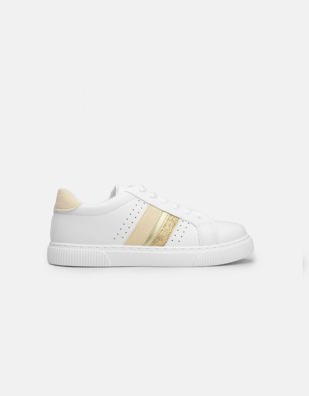 Εικόνα από Γυναικεία sneakers basic με ρίγες στο πλαινό μέρος Λευκό/Μπέζ