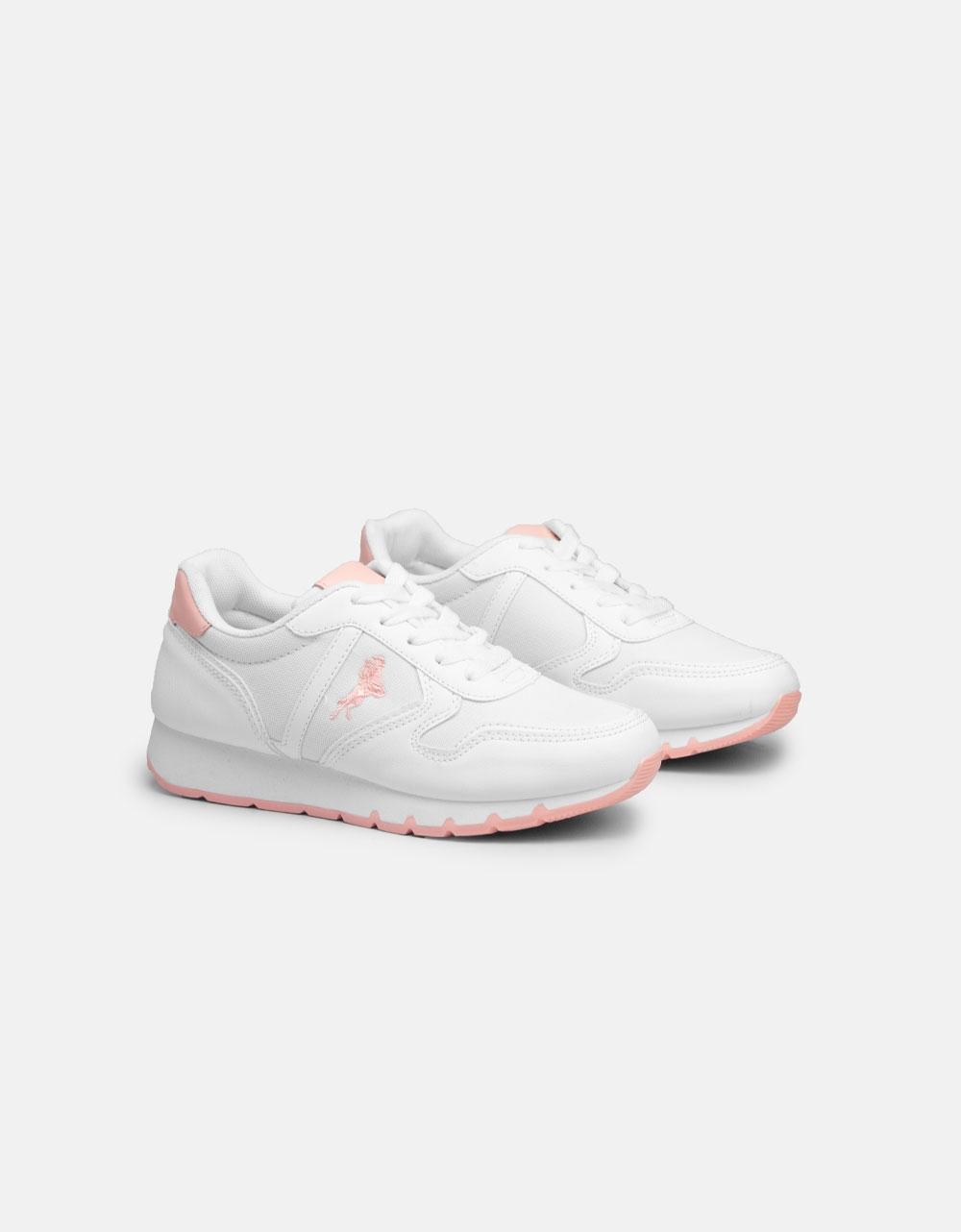 Εικόνα από Γυναικεία sneakers σε συνδυασμούς υλικών Λευκό/Ροζ