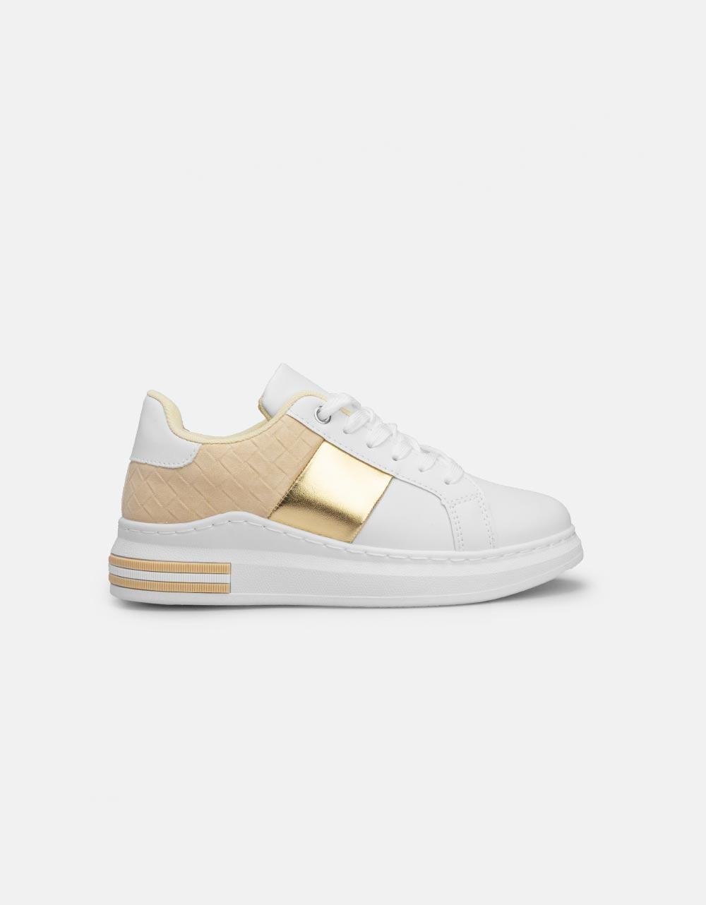 Εικόνα από Γυναικεία sneakers με μεταλλιζέ λεπτομέρεια Μπεζ