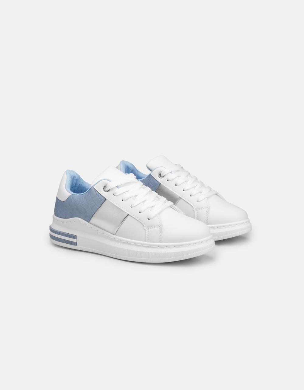 Εικόνα από Γυναικεία sneakers με μεταλλιζέ λεπτομέρεια Μπλε