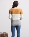 Εικόνα από Γυναικεία μπλούζα πλεκτή με τριχρωμία Καφέ