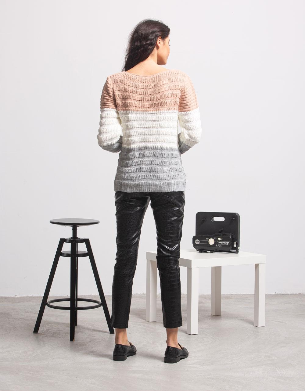 Εικόνα από Γυναικεία μπλούζα πλεκτή με τριχρωμία Ροζ