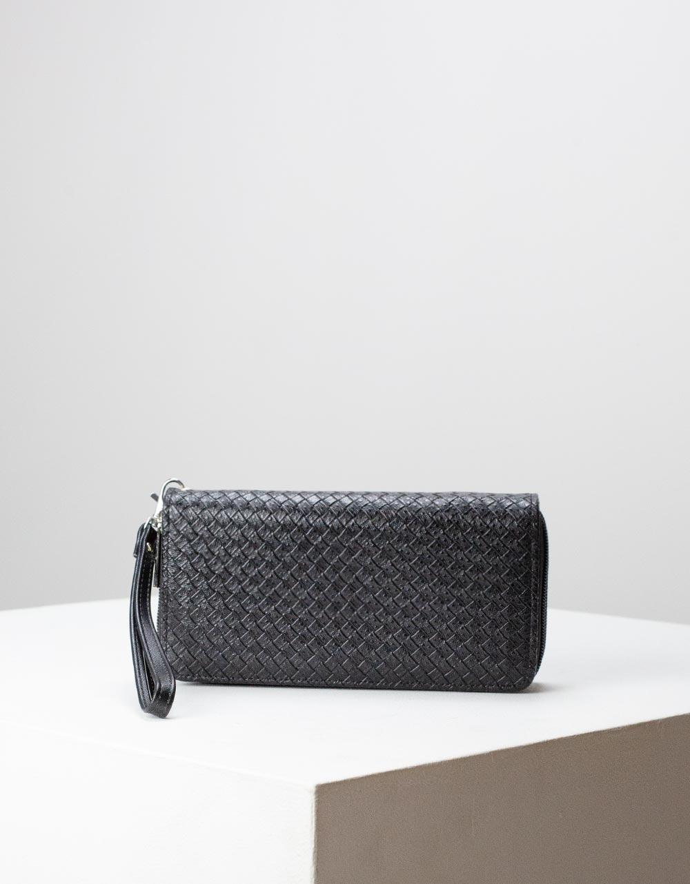 Εικόνα από Γυναικεία πορτοφόλια με ανάγλυφο pattern Μαύρο