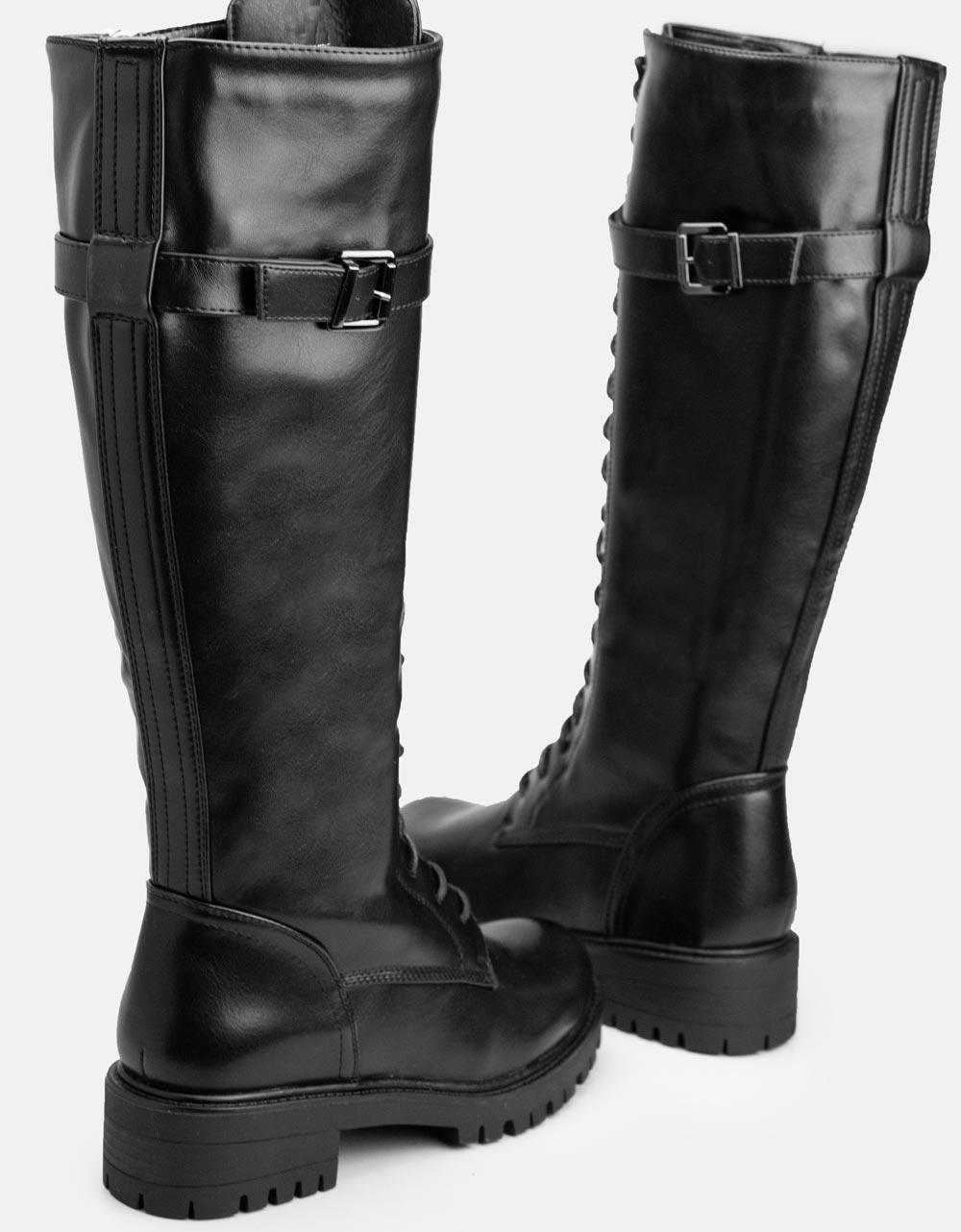 Εικόνα από Γυναικείες μπότες με κορδόνια και τρακτερωτή σόλα Μαύρο