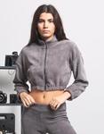 Εικόνα από Γυναικεία μπλούζα crop top με φερμουάρ Γκρι