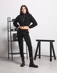 Εικόνα από Γυναικεία μπλούζα crop top με φερμουάρ Μαύρο