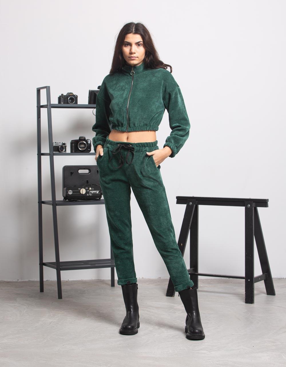 Εικόνα από Γυναικεία μπλούζα crop top με φερμουάρ Πράσινο