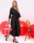 Εικόνα από Γυναικείο φόρεμα σατέν maxi Μαύρο
