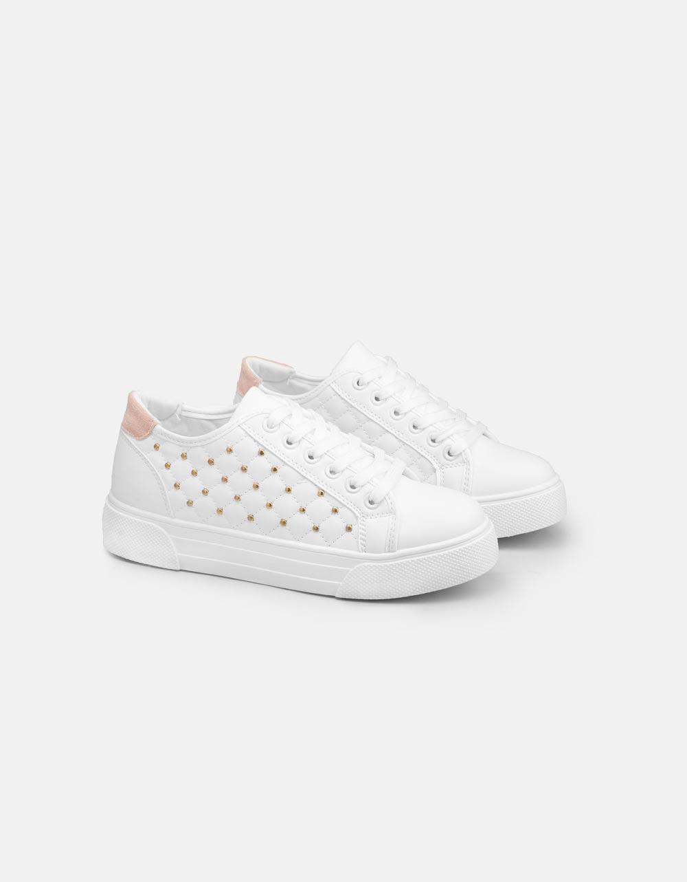 Εικόνα από Γυναικεία sneakers με strass στο πλαινό μέρος Λευκό