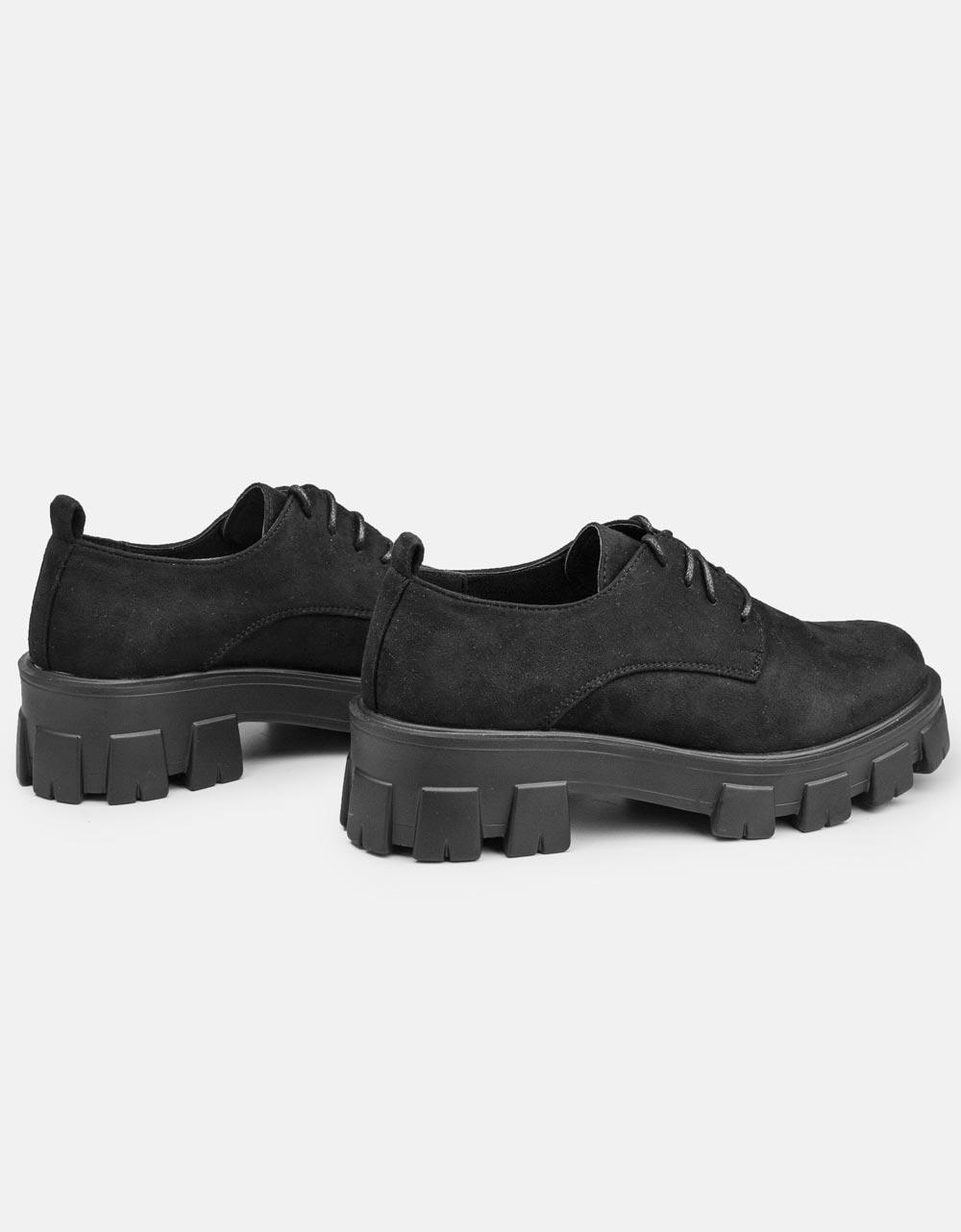 Εικόνα από Γυναικεία loafers με τρακτερωτή σόλα suede Μαύρο