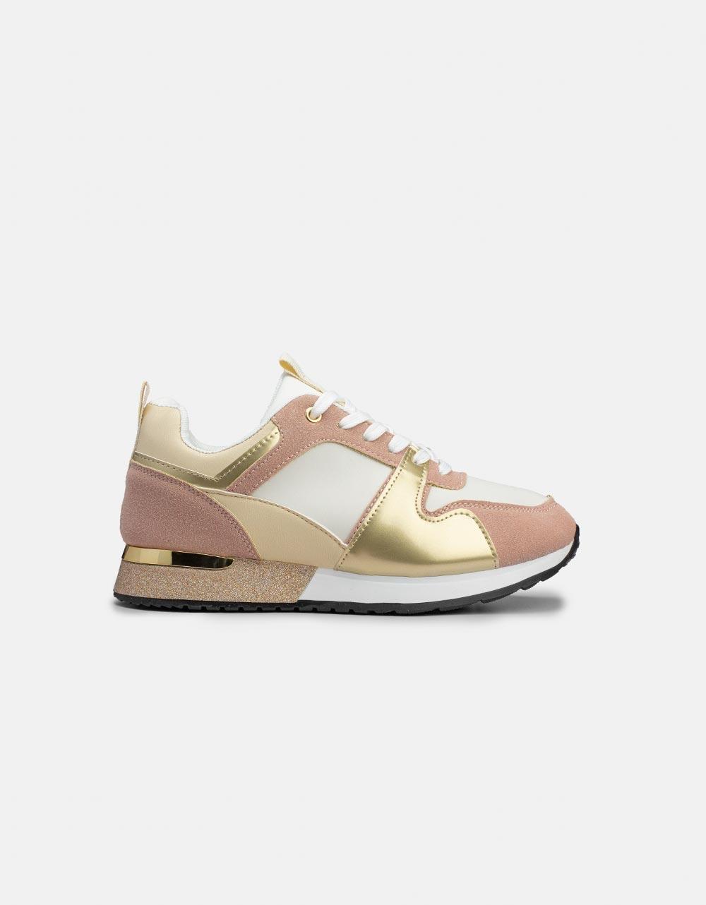 Εικόνα από Γυναικεία sneakers με glitter στην σόλα Μπεζ