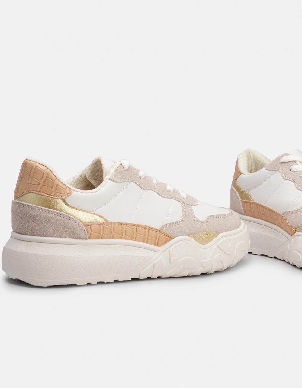 Εικόνα από Γυναικεία sneakers με διάτρητο σχέδιο Μπεζ