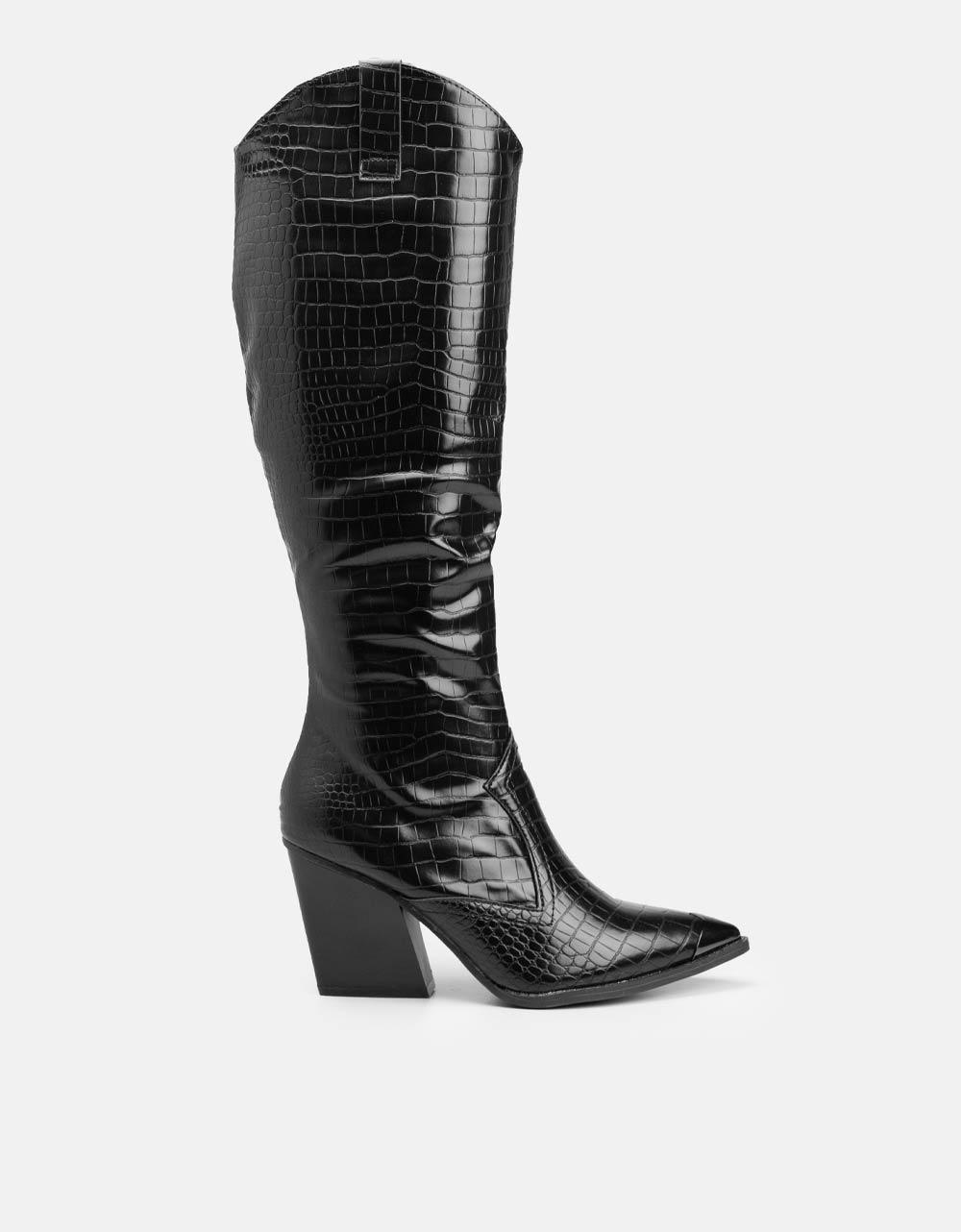 Εικόνα από Γυναικείες μπότες κροκό μυτερές Μαύρο