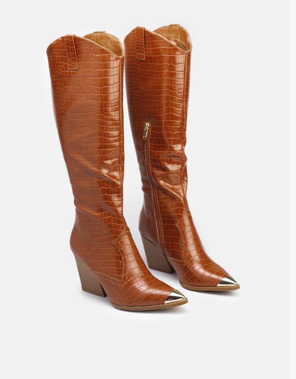 Εικόνα από Γυναικείες μπότες κροκό μυτερές Ταμπά