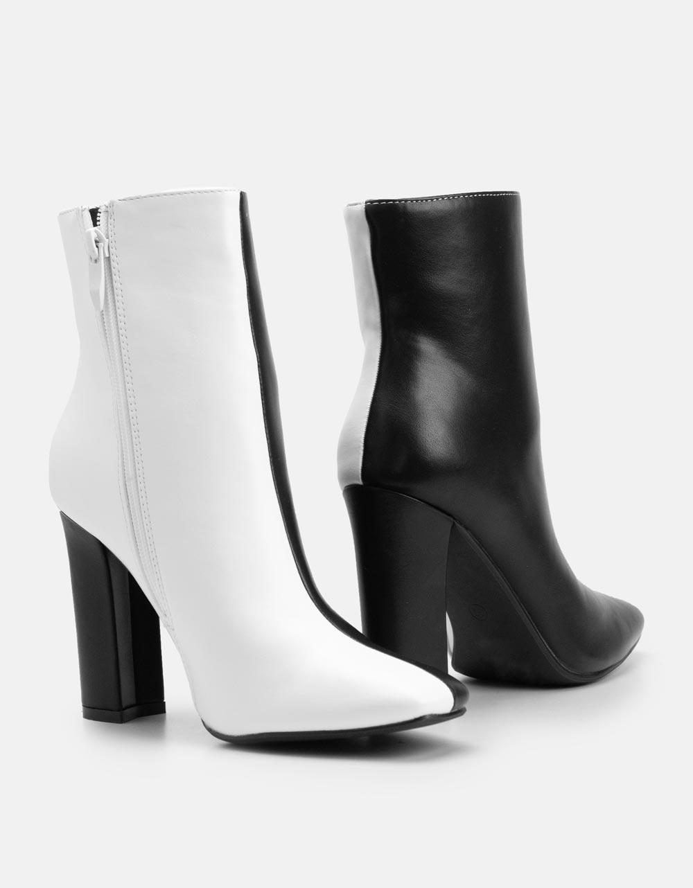 Εικόνα από Γυναικεία μποτάκια δίχρωμα Μαύρο/Λευκό