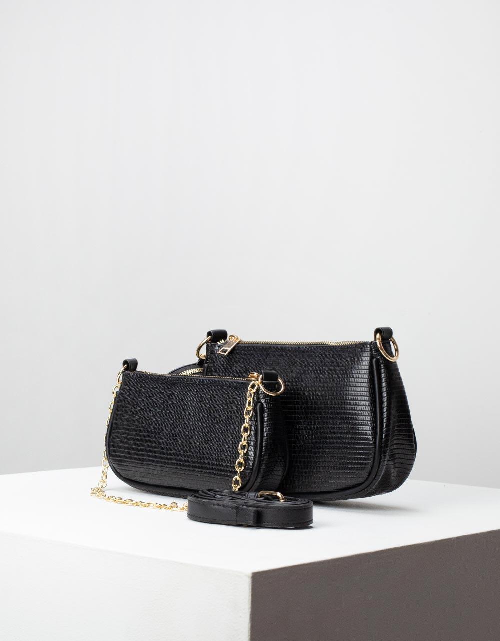Εικόνα από Γυναικεία τσάντα ώμου & χιαστί με 3 σετ Μαύρο