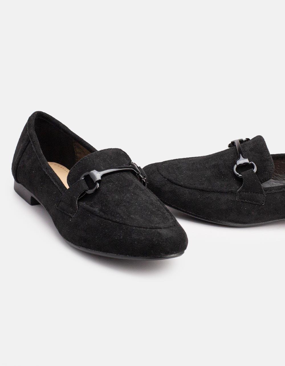 Εικόνα από Γυναικεία loafers suede με διακοσμητική αγκράφα Μαύρο