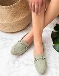 Εικόνα από Γυναικεία loafers suede με διακοσμητική αγκράφα Λαχανί