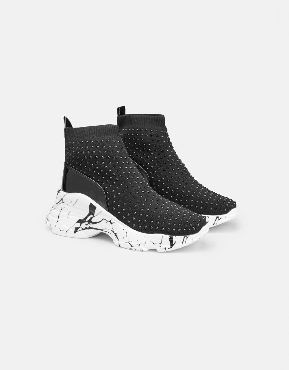 Εικόνα από Γυναικεία sneakers Slip on με strass Μαύρο