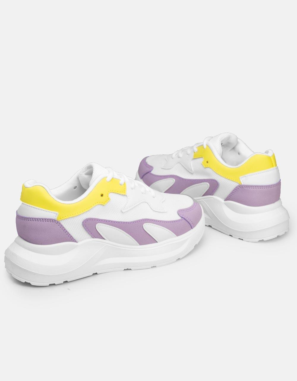 Εικόνα από Γυναικεία sneakers σε συνδυασμούς υλικών Λευκό/Μωβ