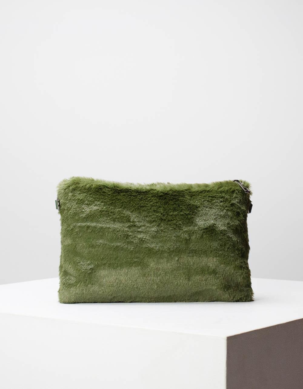 Εικόνα από Γυναικείοι φάκελοι με γουνάκι Πράσινο